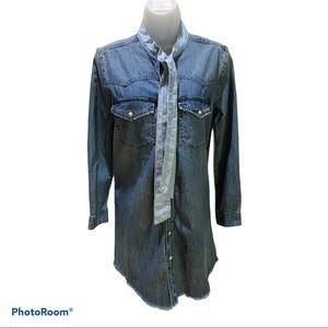 NWT Lucky Brand Denim Shirt Dress Size S